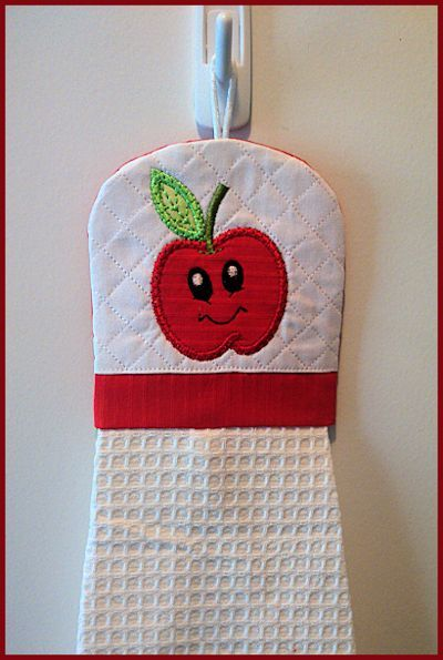 In-the-hoop Apple Coaster and Towel Topper - Free machine