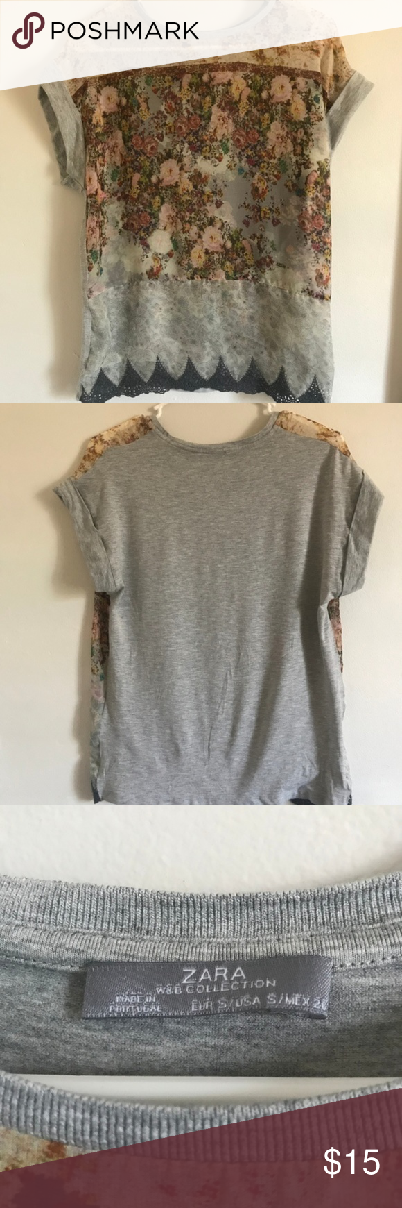 Zara Mixed Media Fabric TShirt Top Blouse Zara WM Collection Mixed Media Fabr