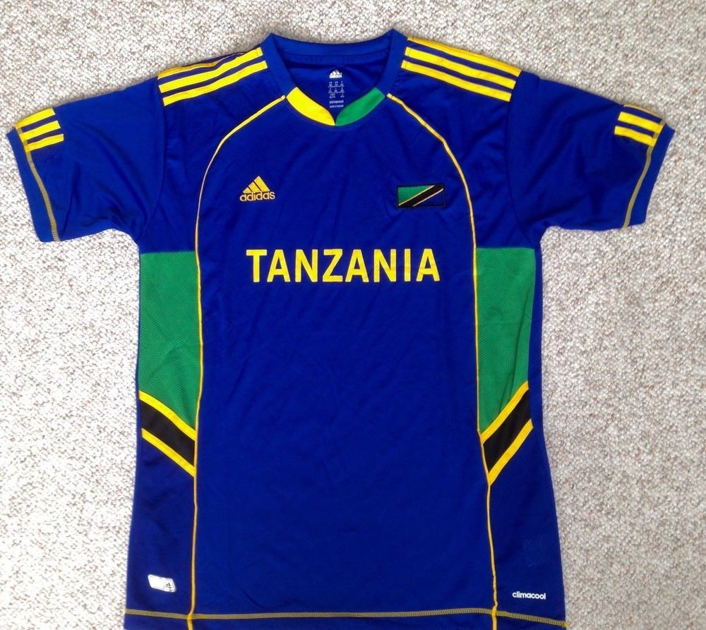 21108f5bcae  See Size Info ADIDAS TANZANIA SOCCER JERSEY Blue Yellow Striped Dry-Fit T- shirt  adidas  DryFit  Tanzania