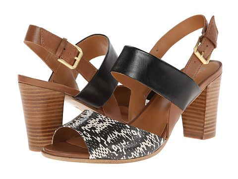 Womens Shoes Naturalizer Dahnny Black/White Printed Snake/Tan Leather