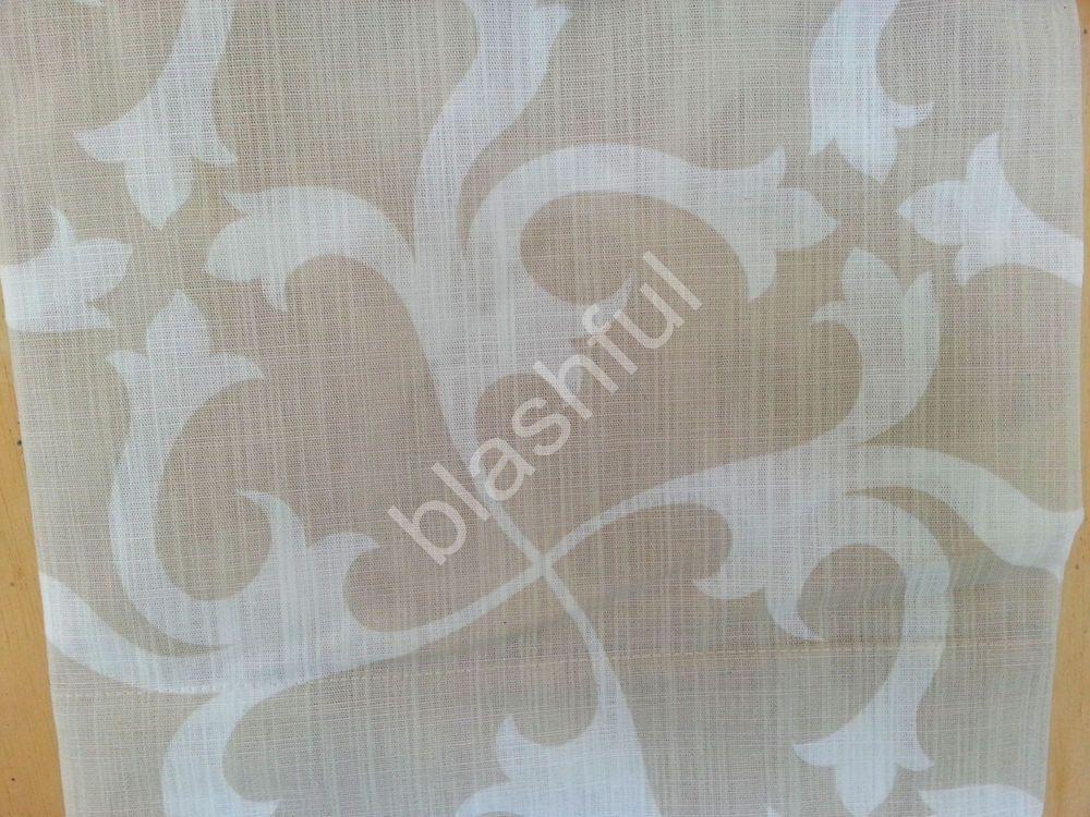 TAHARI Medallion Light Beige Tan Ivory Scrolls Window Curtain Panels 52x96 PAIR