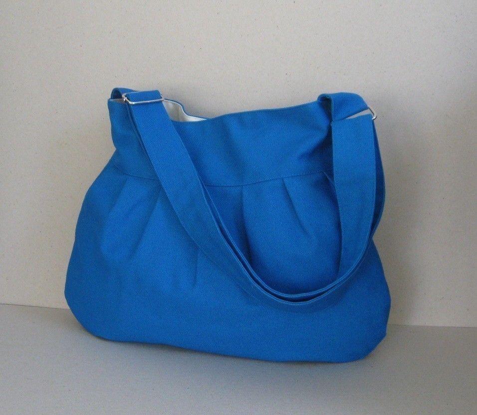 Sale 10% - Bright Turquoise Canvas Messenger Bag - Shoulder bag, Diaper bag, Everyday bag, Tote, Travel bag, Women. $29.00, via Etsy.