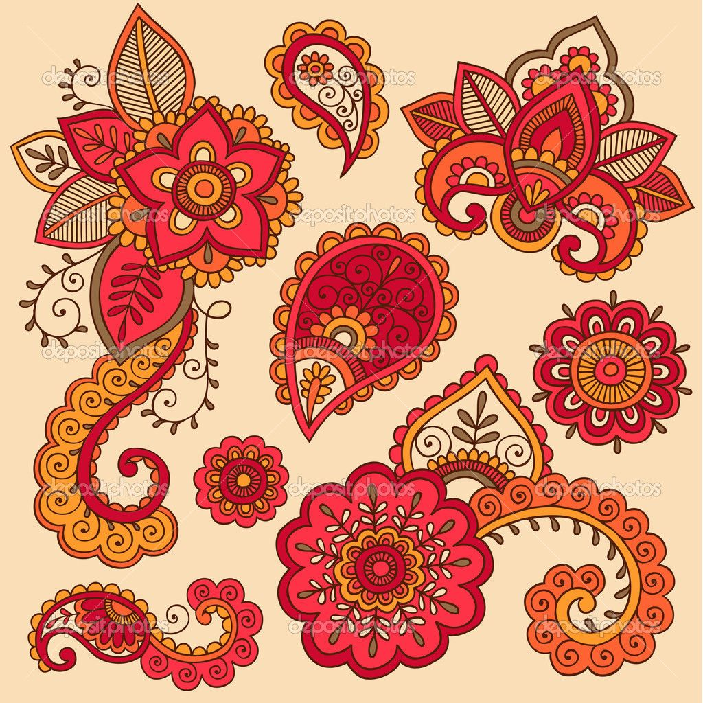 Henna Doodle Mehndi Tattoo Colorful Vector Design Elements by blue67 ...