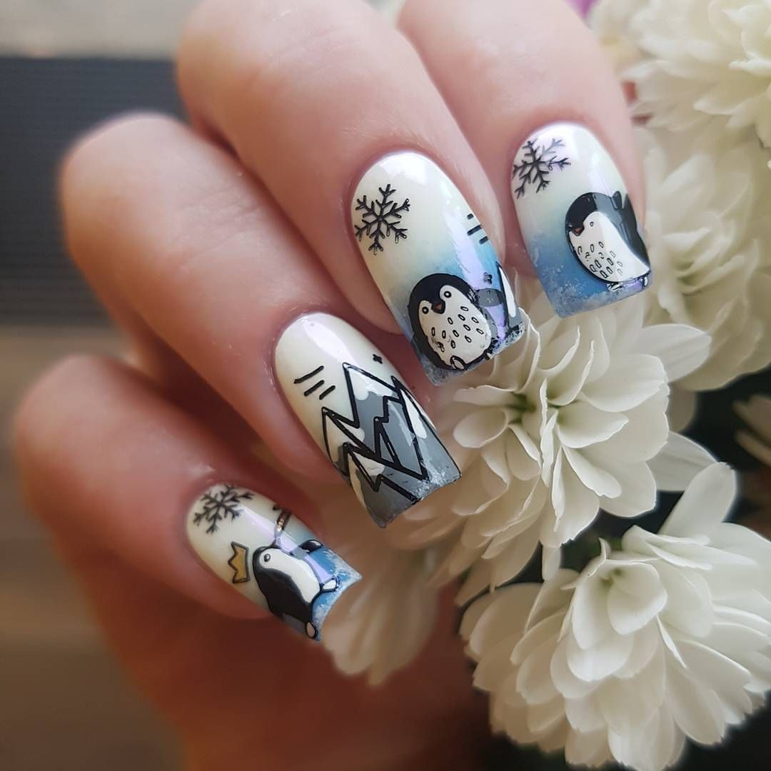 Lovely snowflake and penguin stamping nail art design review from ...