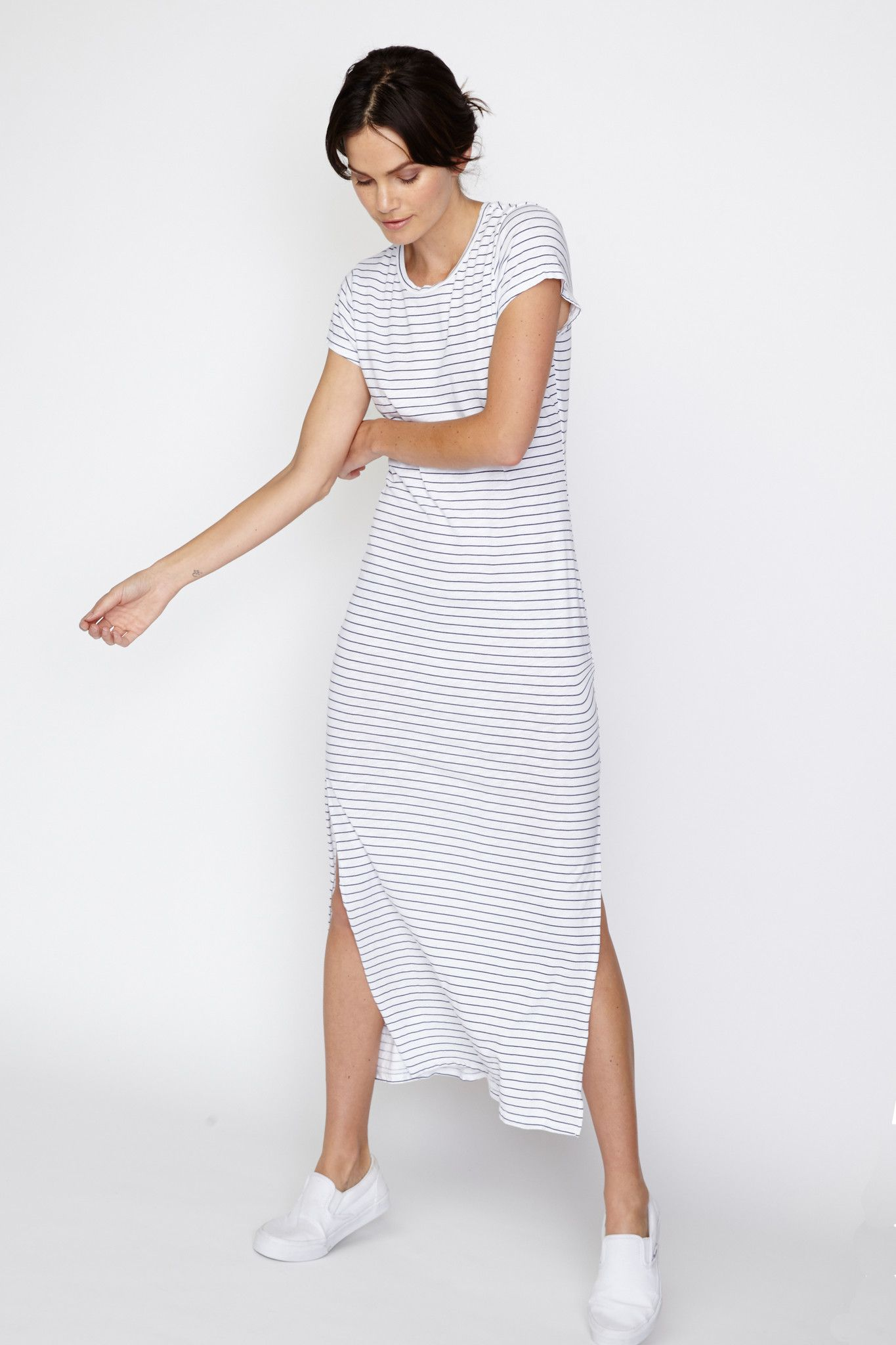 Striped Slit Tee Dress from Sundry