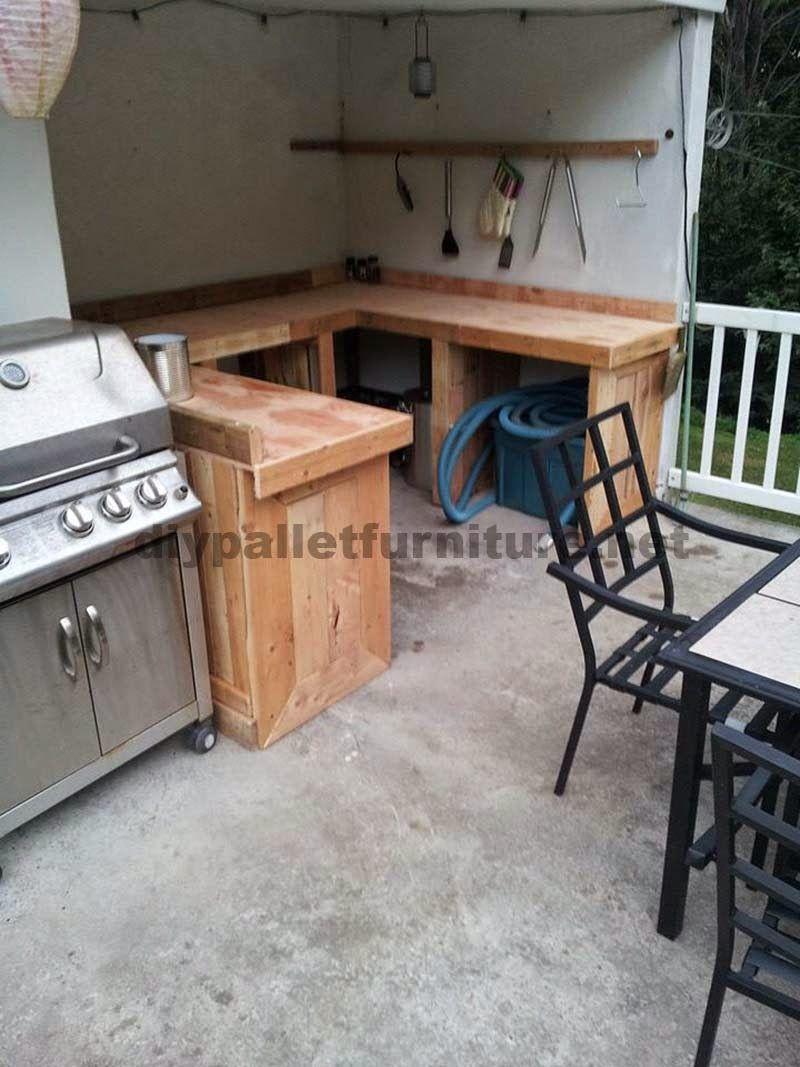 Muebles de palets cocina hecha con tablas de palets - Tarima para cocina ...