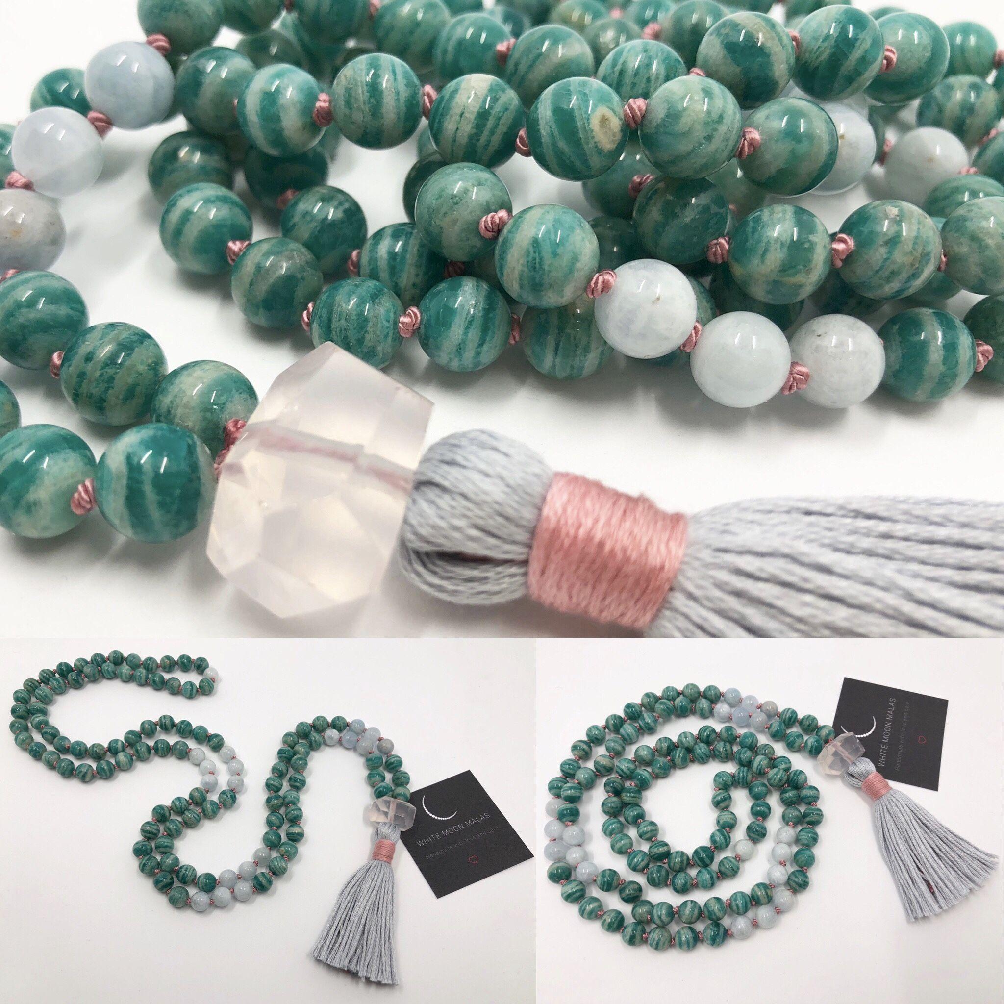 Mala Necklace Made Of Russian Amazonite Aquamarine And Rose