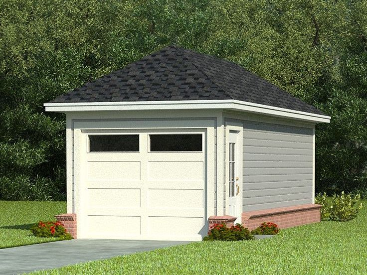 One car garage plans single car garage plan with hip for Garage plans with storage