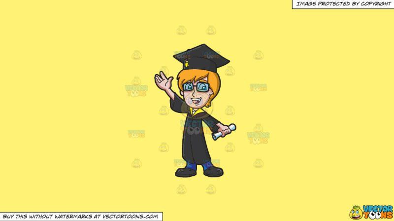 A Smart Guy Graduating From College On A Solid Sunny Yellow Fff275 Background:   A man with orange hair wearing black rimmed spectacles black graduation hat with yellow tassel black toga with yellow collar blue pants and black shoes parts his lips to smile in happiness as he raises his right hand and holds a white diploma in his left hand