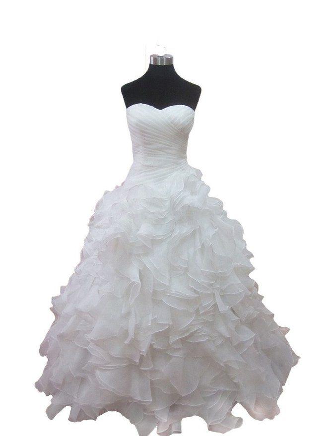 ZYJdress White Chiffon Wedding Dresses with Piping Lace up