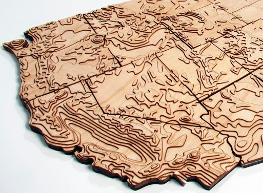 Created From Actual Elevation Data This Wooden Topographical Map Of The United States Is Laser Cut And Hand Assembled In Portland Oregon