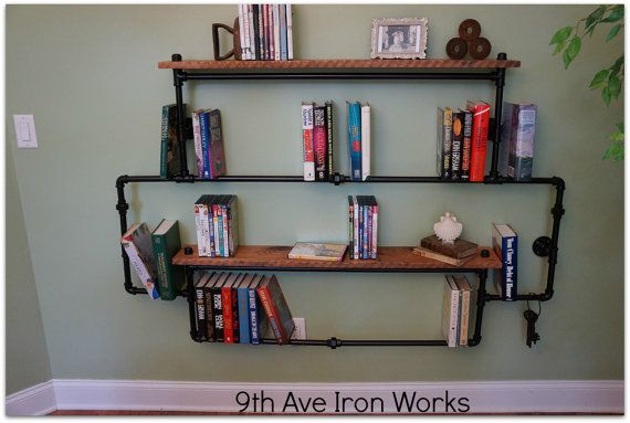 Up-Town Oak & Iron Wall Unit by 9thAveIronWorks on Etsy