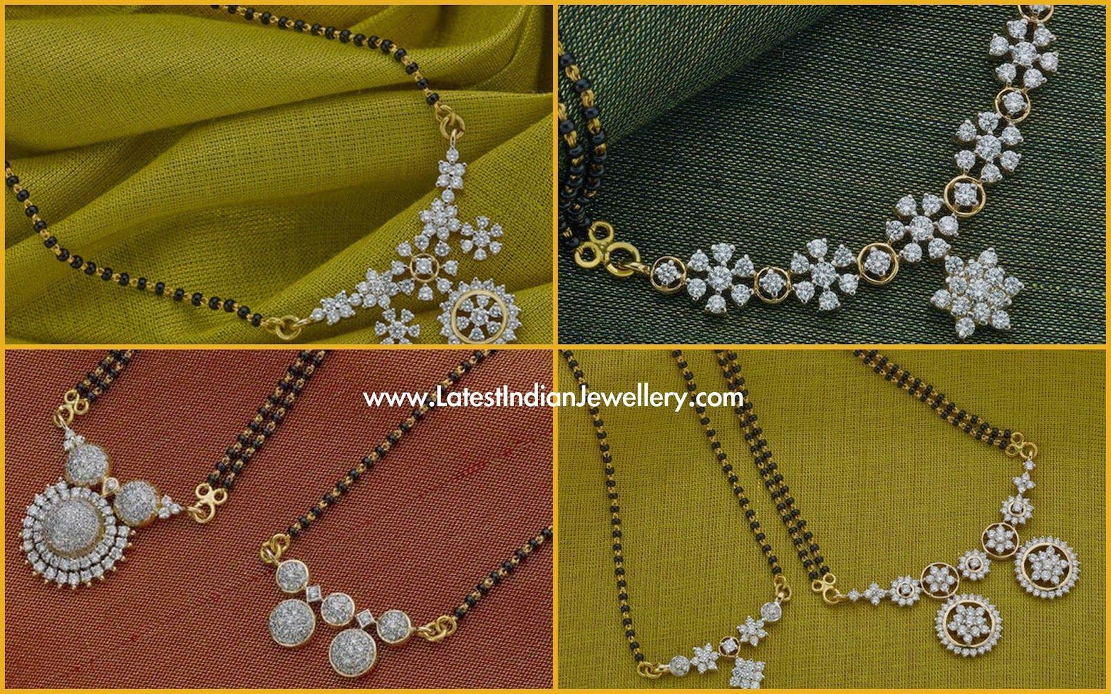 Diamond Pendant Black Beads Mangalsutra Designs   Latest Indian Jewellery Designs