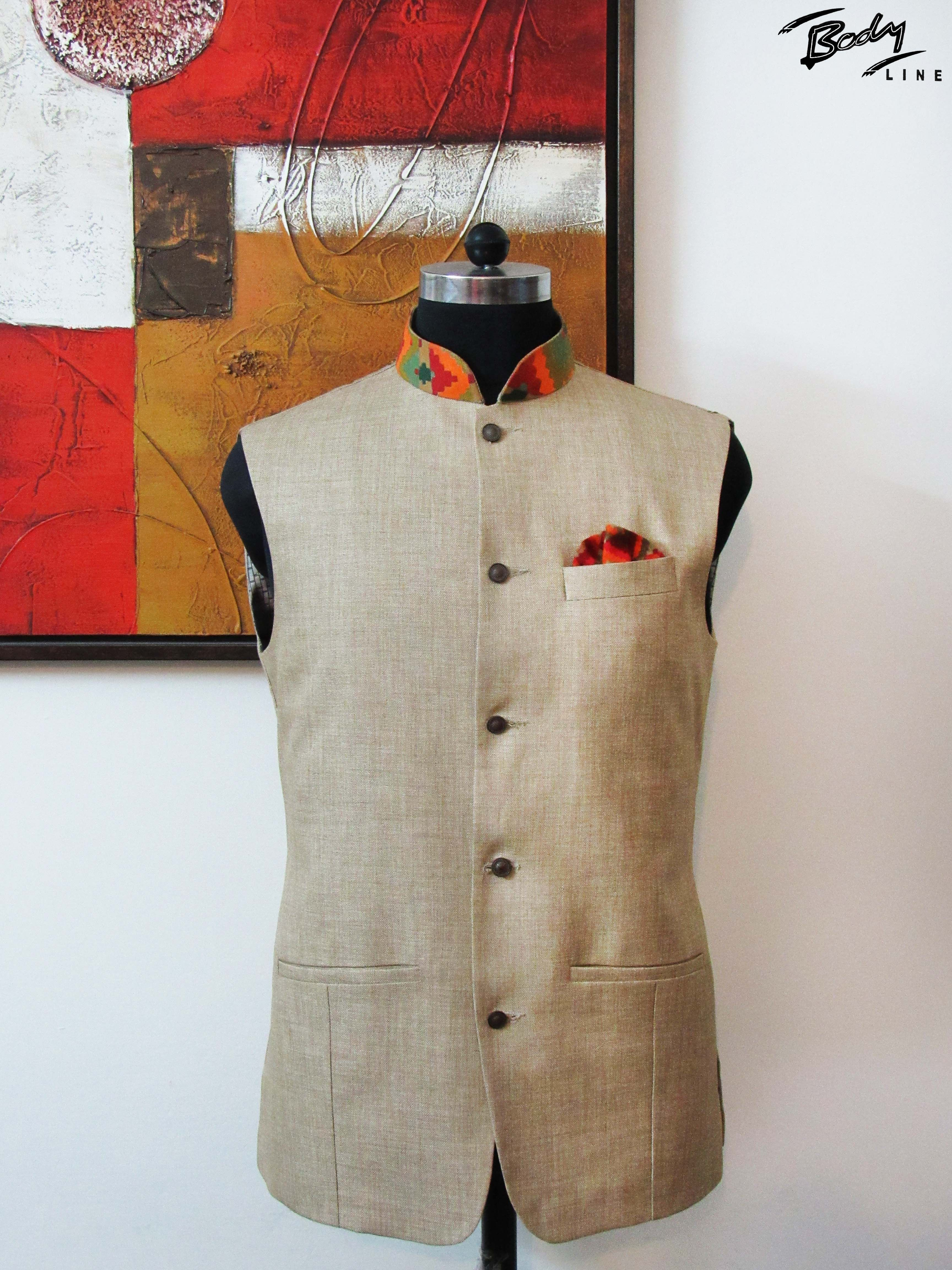 Made with jute this nehru jacket has an interesting twist provided