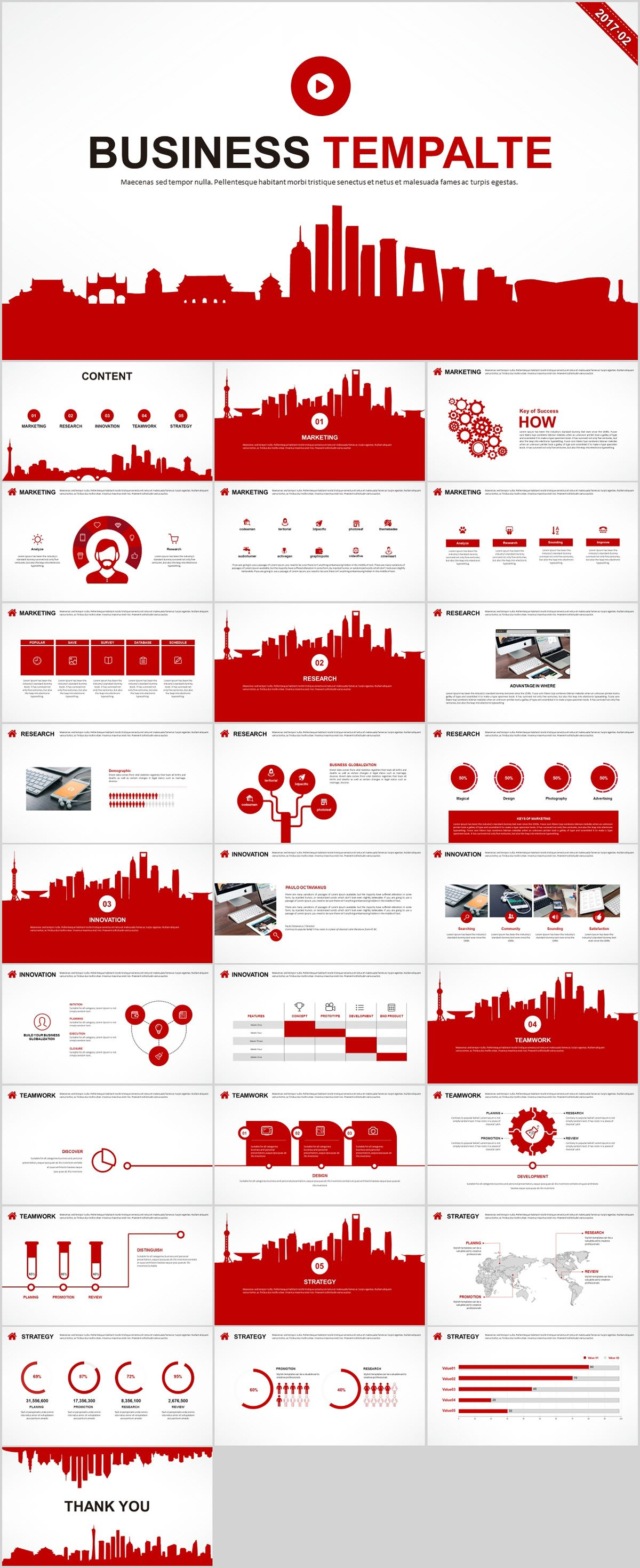 Red Business Infographics Powerpoint Templates Download