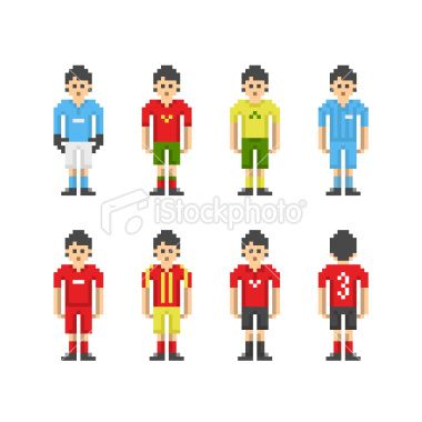 Set Of Football Players In The Simple Pixel Art Style On A