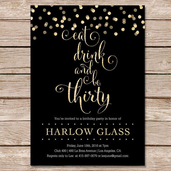 30th Birthday Invitation Adult Gold Glitter Party Printable Digital Invite