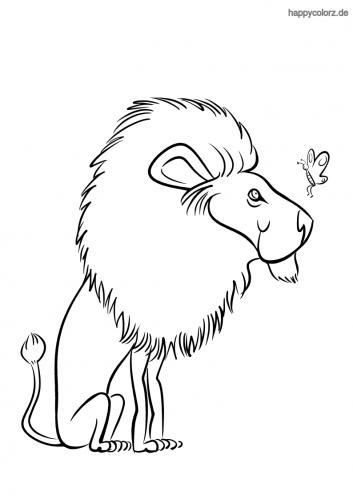 löwe mit schmetterling malvorlage  zootiere kleine