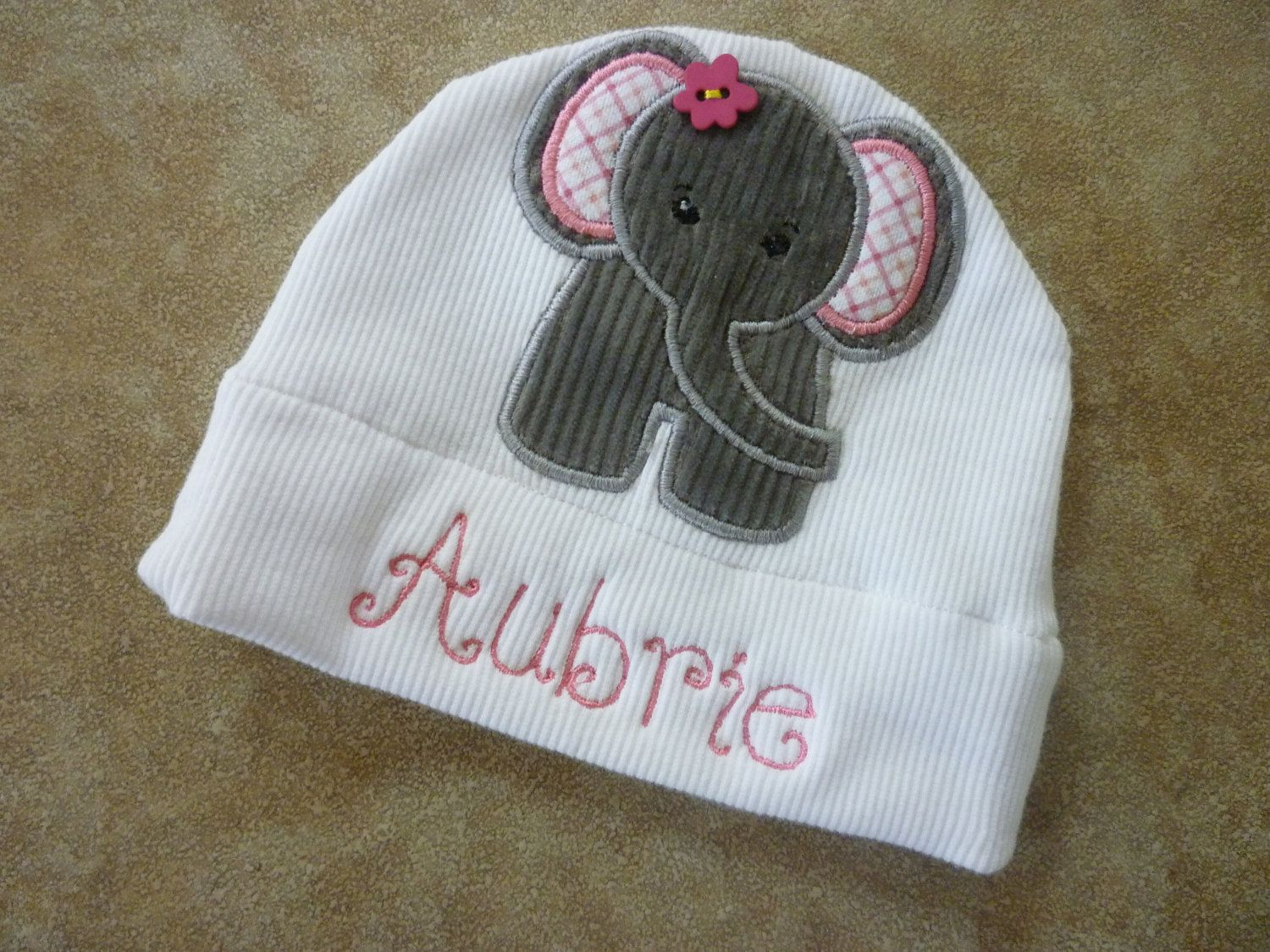 Photo of Items similar to Personalized Baby Girl Elephant Jersey Knit Appliqued Hat on Etsy