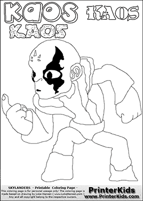 Skylanders Swap Force Coloring Page With The Villain Character Kaos That Can Be Printed Downloaded Or Colored Online Kaos Is The Primary Villain Or Bad Guy Fi