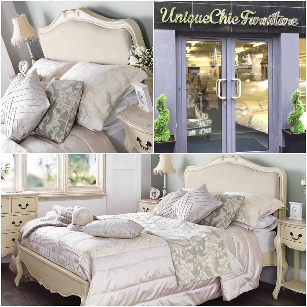 French Style Upholstered Cream Bed  Now Reduced!  4ft 6 Double £425  5ft King £449  6ft Superking £525    see it all here;  http://uniquechicfurnituresale.co.uk/rochelle-champagne-313-c.asp