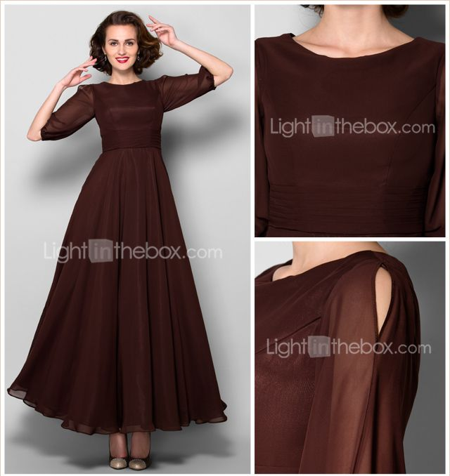 A-line Mother of the Bride Dress - Chocolate Ankle-length Half Sleeve Chiffon - USD $ 89.99
