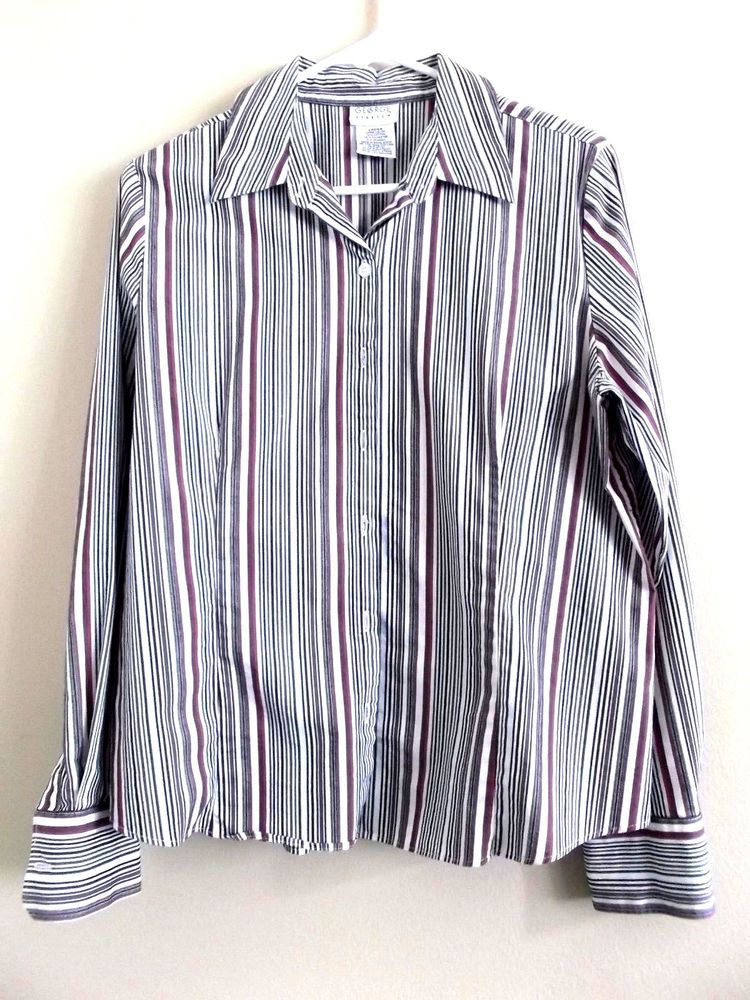 0104a1671f480d George Women's Stretch Multi-Colored Striped Button Down Dress Shirt Size  Large #George #ButtonDownShirt