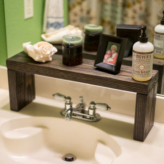 Rustic Wood Shelf Bathroom Sink Shelf Moden Farmhouse Bathroom Decor Plant Shelf Wood Plant Stand Countertop Shelf Storage Shelf Farmhouse Bathroom Decor Bathroom Decor Rustic Shelves