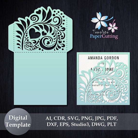 Wedding invitation template svg dxf ai crd eps laser paper wedding invitation template svg dxf ai crd eps laser paper cut silhouette cameo cricut envelope instant download convites mquina laser e stopboris Image collections