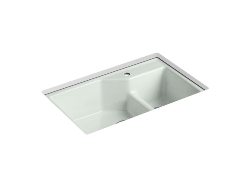 Indio Smart Divide Undermount Cast Iron 33 Inch 1 Hole Double Bowl Kitchen Sink In Sea Salt Cast Iron Kitchen Sinks Double Bowl Kitchen Sink Sink