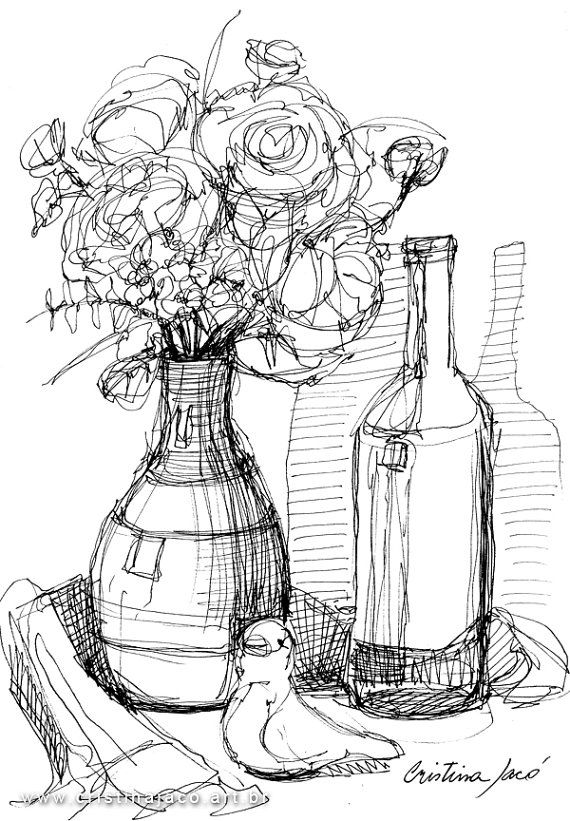 Line Art Etsy : Still life drawing line black and white by