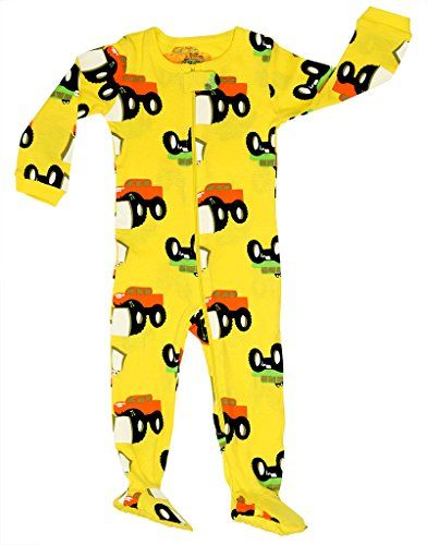 23c528c83ac0 Elowel Baby Boys footed monster truck pajama sleeper 100 cotton 1824 ...