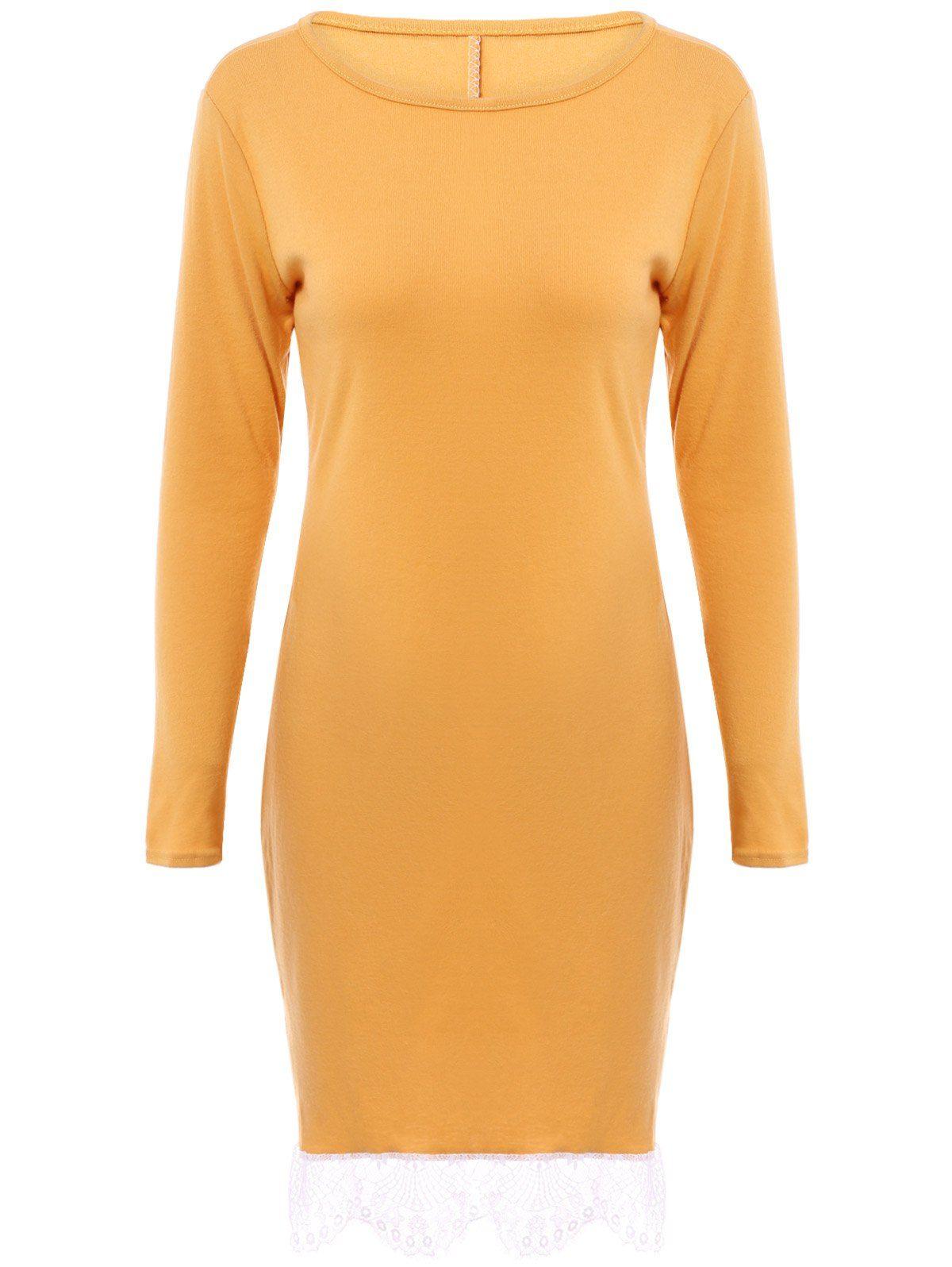 Elegant womenus round collar laced long sleeve dress sleeved dress