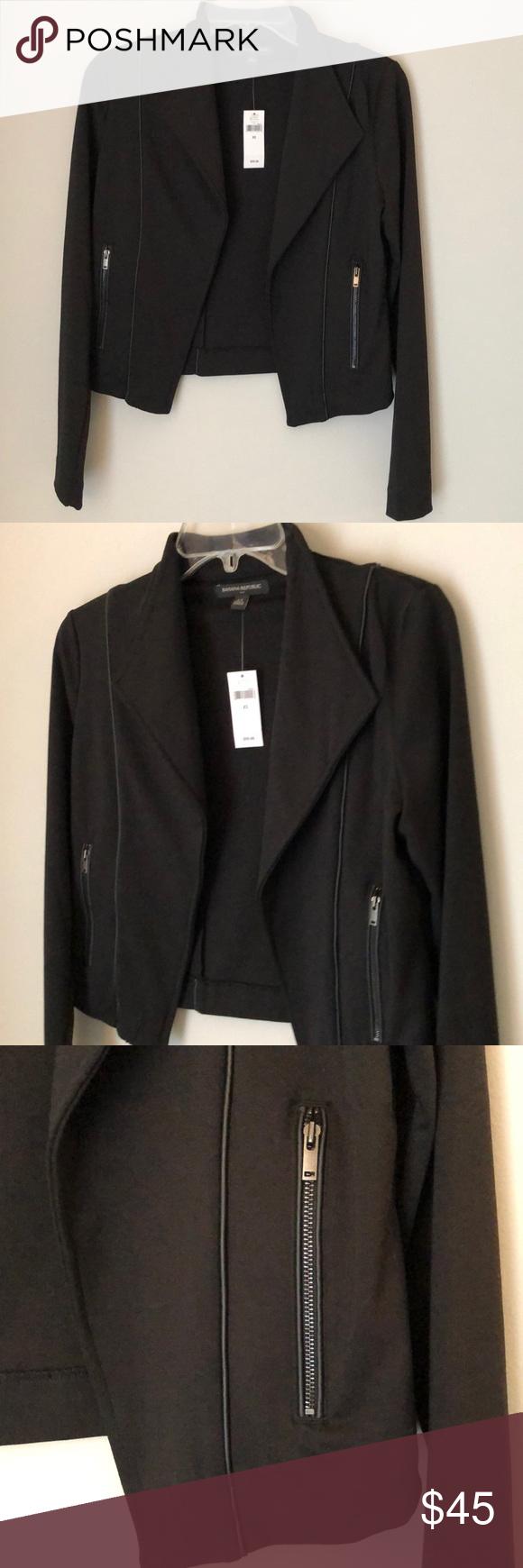 NWT Banana Republic black moto jacket size XS Black moto