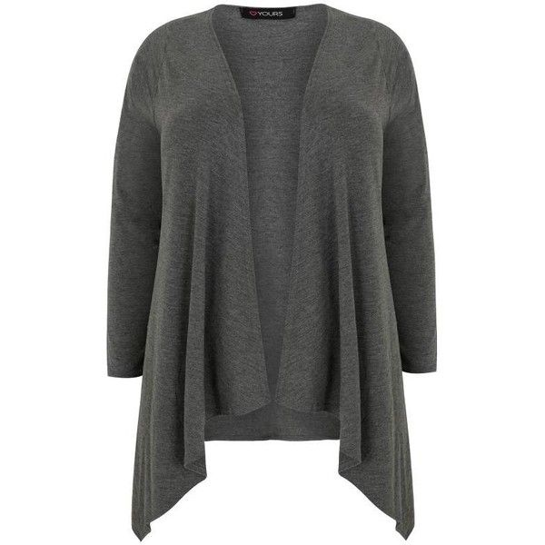 Dark Grey Edge To Edge Waterfall Jersey Cardigan ( 22) ❤ liked on Polyvore  featuring tops 8744672a0