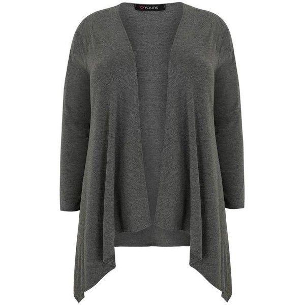 Dark Grey Edge To Edge Waterfall Jersey Cardigan ($22) ❤ liked on ...