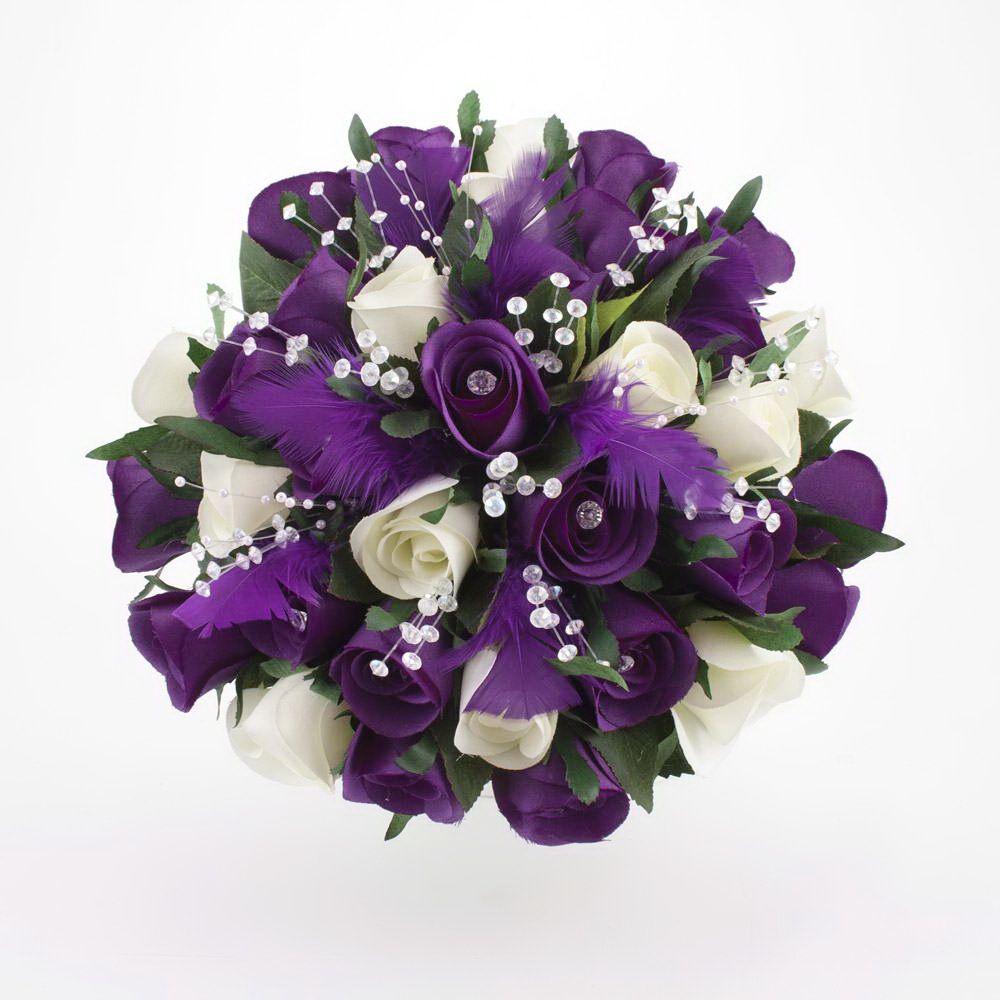 Dark Purple And White Rose Wedding Flowers | Purple Passion ...