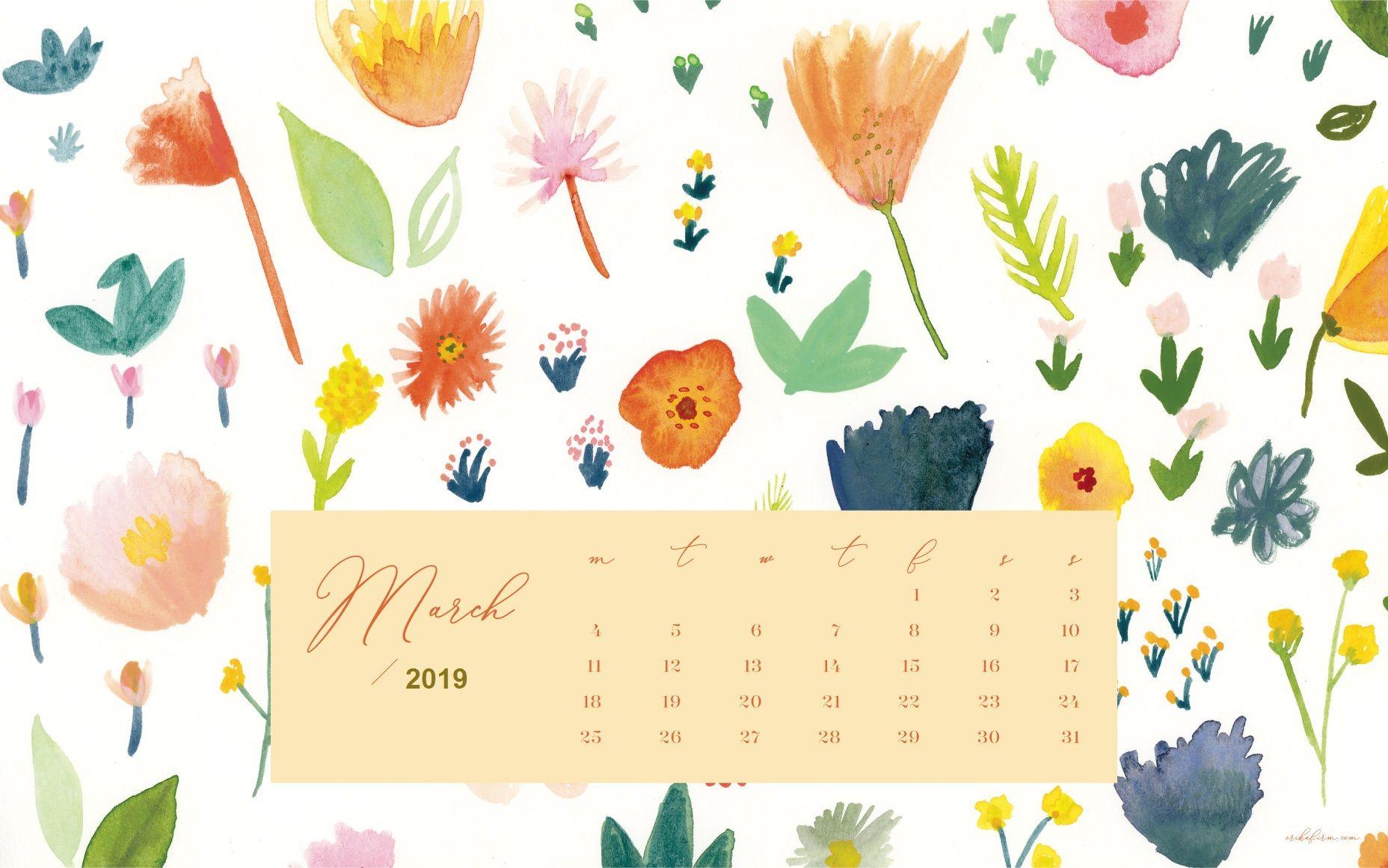 March 2019 Calendar Floral Background Calendar Wallpaper Desktop Wallpaper Calendar Floral Wallpaper
