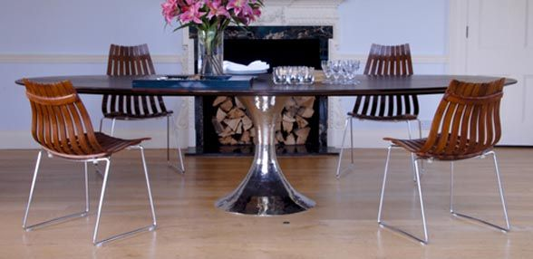 Julian Chichester Dakota Table shown with vintage chairs | Lifestyle  www.julianchichester.com