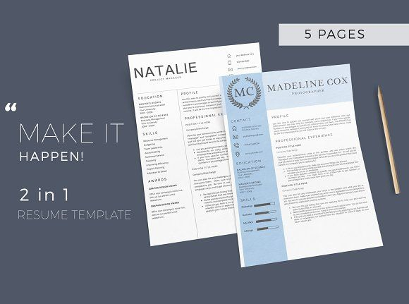 Resume Template 5 Pages/CV by Quality Resume on @creativemarket - resume 5 pages