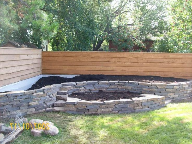 Small Garden Wall Designs Landscaping Raised Bed Along Fence Line