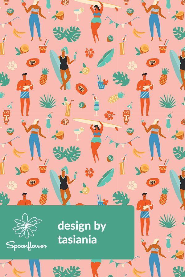 Colorful fabrics digitally printed by Spoonflower - Blue hawaii