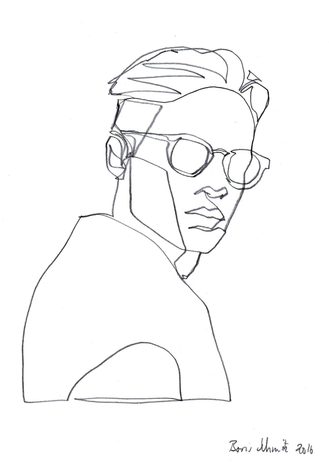 "Continuous Line Drawing Of A Face : ""gaze ″ continuous line drawing by boris schmitz"