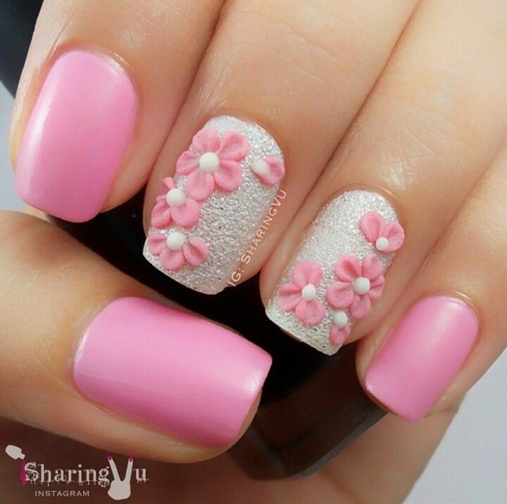 Pink and white floral nail art | Nails Art and Tips | Pinterest ...
