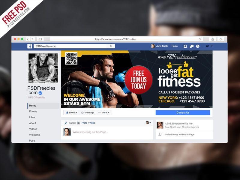 Gym Fitness Facebook Fanpage Cover Template Psd Redes Sociais