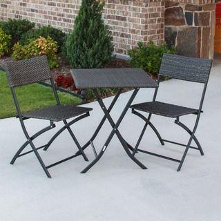 Shop for International Caravan Castillo 3-piece Resin/ Steel Folding Bistro Set…