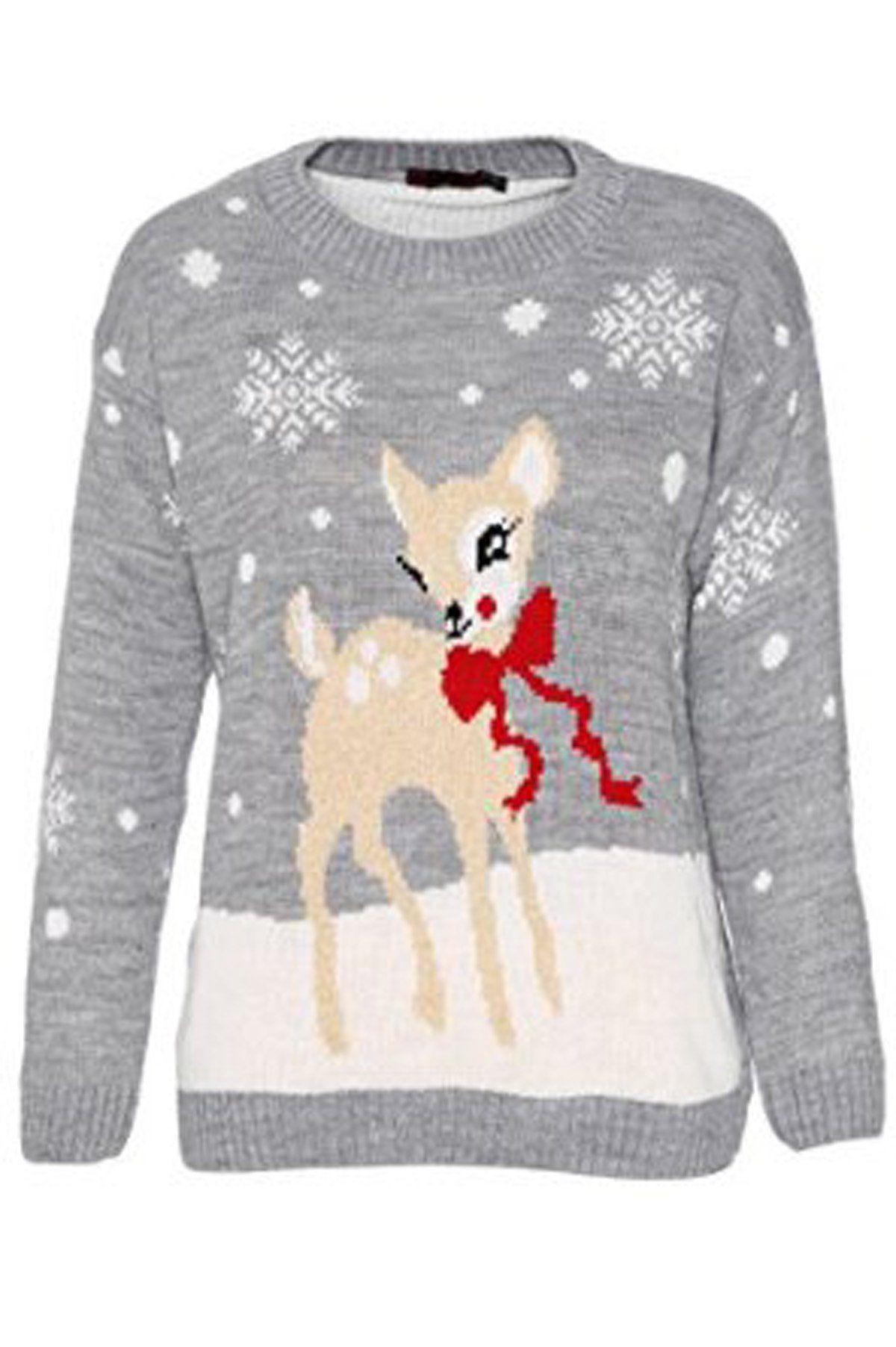 Fashionclothing Noël Jumper Tricoté Dames Femmes Bambi Cerf Bébé BgqBr1