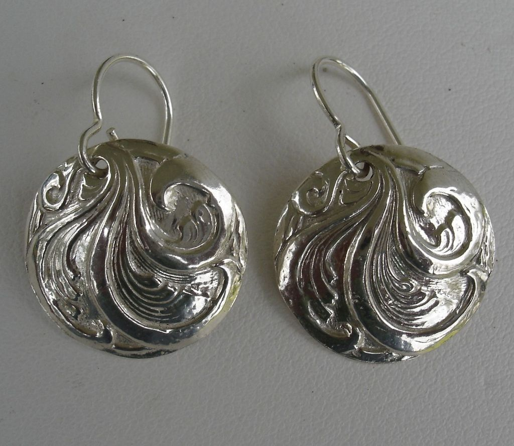 Fine Silver Scroll Earrings Handcrafted Pmc 999 From All Things Beautiful Exclusively On Ruby Lane