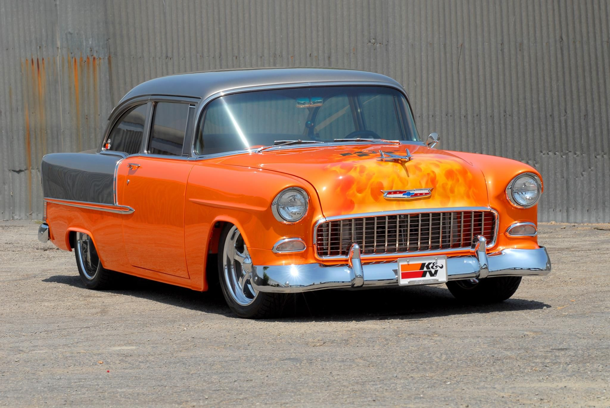 Beautiful 55 Chevy with custom K & N paintjob. | CARS: American ...