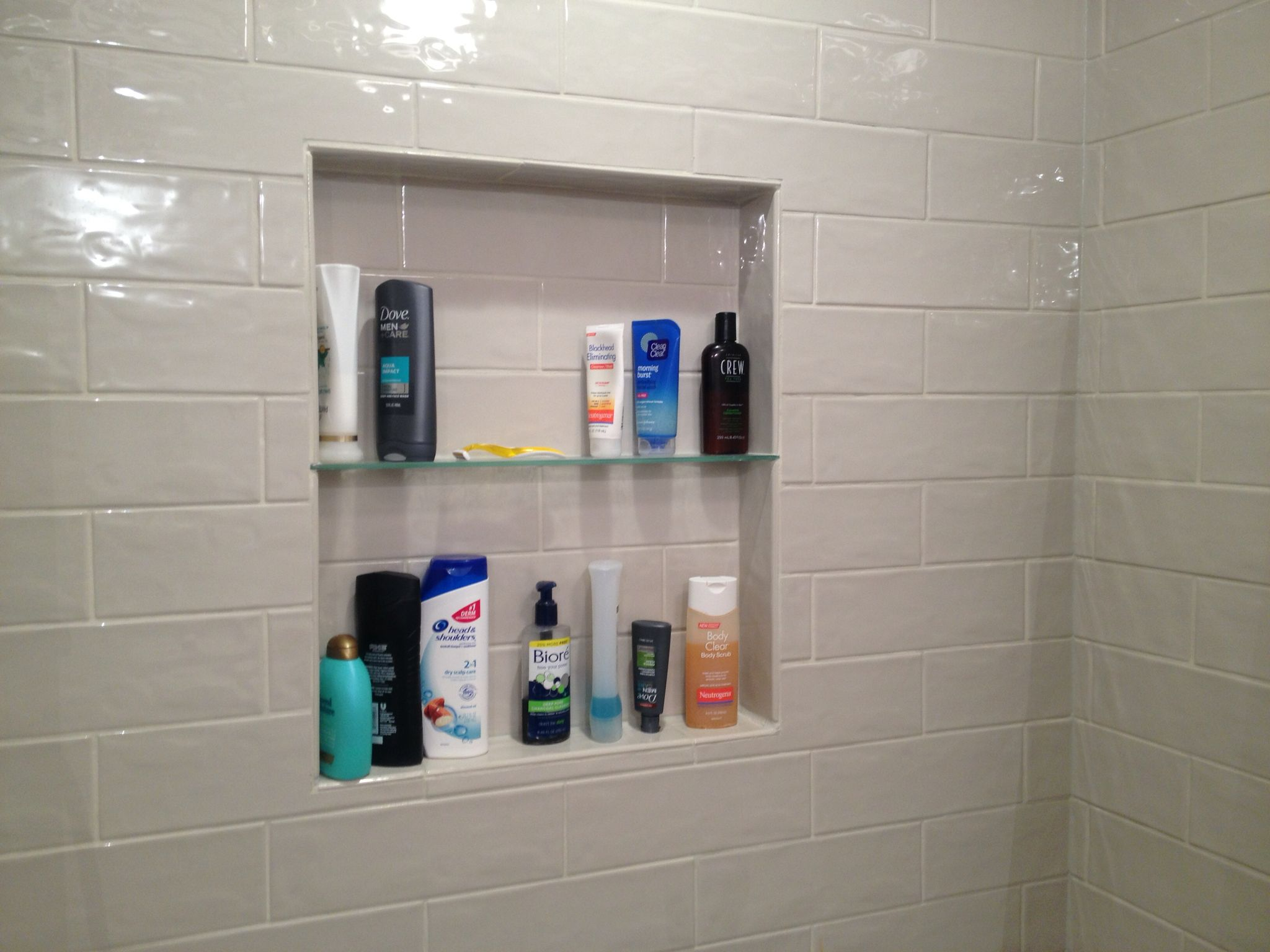 Shower Niche With Tempered Glass Shelf. Marazzi Middleton Square Ceramic  Subway Tile 4x12 In Latte